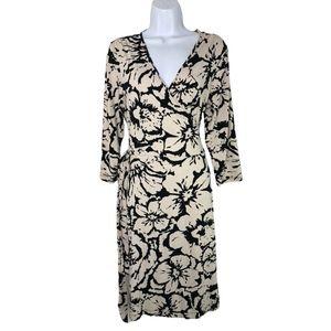 Banana Republic Stretch Wrap Dress Ivory & Black L